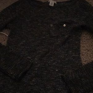 Cute black and grey knit sweater.
